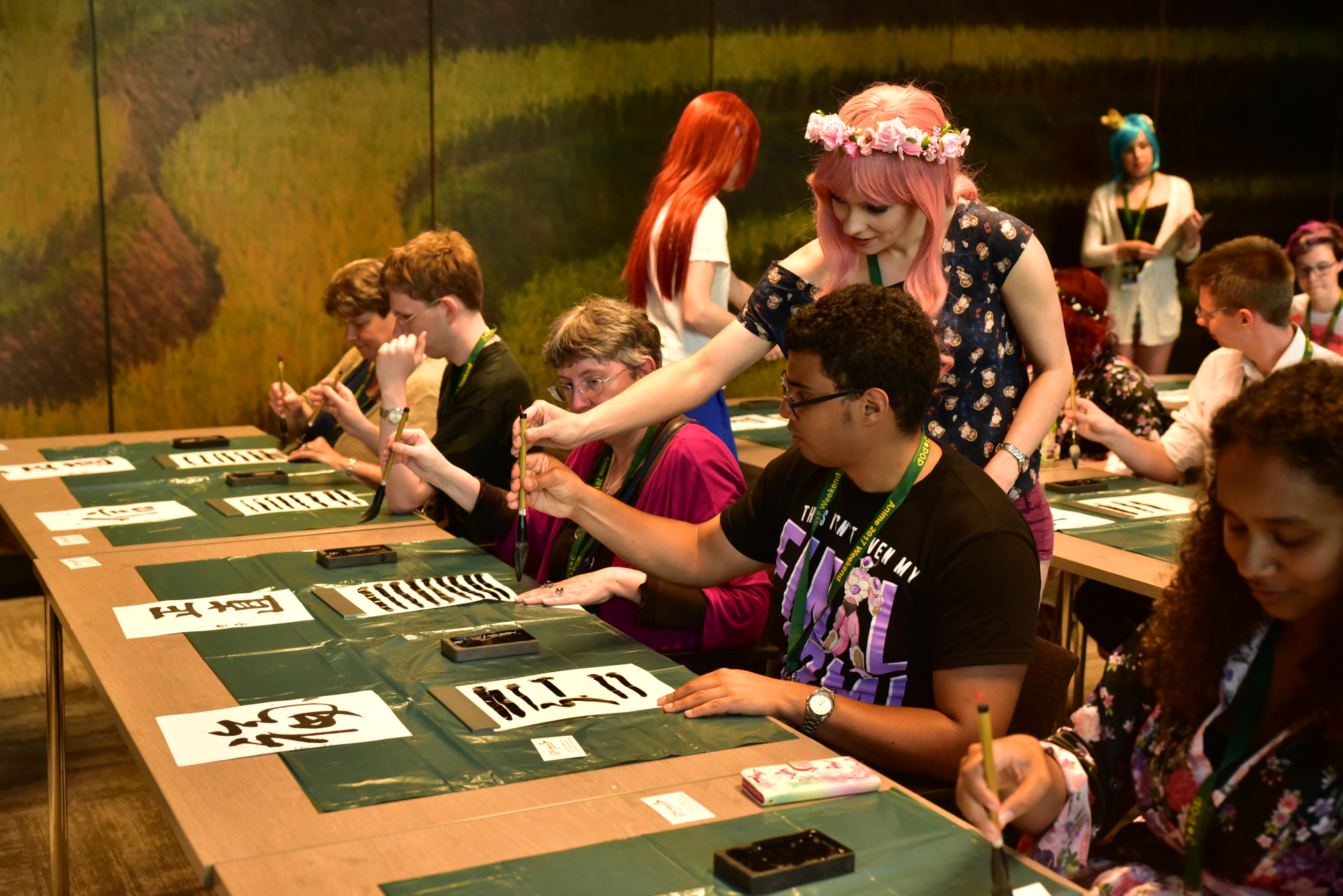 Calligraphy workshop at AnimeCon